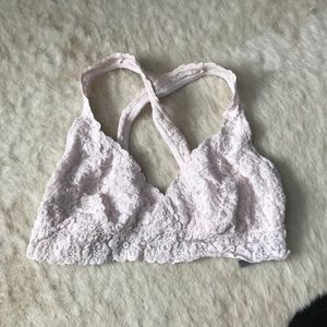 aerie pink lace bralette